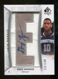 2010/11 Upper Deck SP Authentic #210 Greg Monroe AU/Serial 149, Print Run 894 Autograph /894