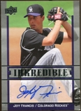 2009 Upper Deck Inkredible #JE Jeff Francoeur Autograph