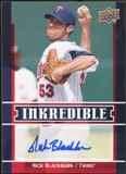 2009 Upper Deck Inkredible #NB Nick Blackburn S2 Autograph