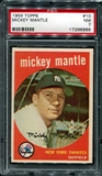 1959 Topps Baseball #10 Mickey Mantle PSA 7 (NM) *8988