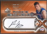 2006/07 SP Game Used #PD Paul Davis Rookie Exclusive Auto #099/100