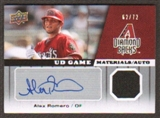 2009 Upper Deck UD Game Materials Autographs #GMAR Alex Romero Autograph /72