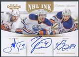 2011/12 Panini Contenders #9 John Tavares Taylor Hall & Ryan Nugent-Hopkins NHL Ink Gold Auto #05/10