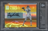 2005 Donruss Elite #PT24 Terry Bradshaw & Ben Roethlisberger Passing the Torch Auto BGS 9