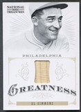 2012 Panini National Treasures #19 Al Simmons Greatness Materials Bat #84/99