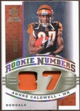 2008 Upper Deck SP Rookie Threads Rookie Numbers Holofoil Patch #RNAC Andre Caldwell /75