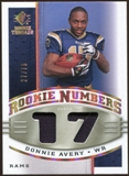 2008 Upper Deck SP Rookie Threads Rookie Numbers Holofoil Patch 75 #RNDA Donnie Avery /75