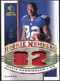 2008 Upper Deck SP Rookie Threads Rookie Numbers Holofoil Patch 75 #RNMM Mario Manningham /75