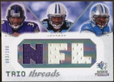 2008 Upper Deck SP Rookie Threads Trio Threads #RJS Ray Rice Chris Johnson Kevin Smith /100