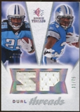 2008 Upper Deck SP Rookie Threads Dual Threads/75 #DTJS Chris Johnson Kevin Smith /75