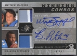 2009 SPx #SP Matthew Stafford & Brandon Pettigrew Winning Combos Rookie Patch Auto #10/15