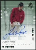 2002 Upper Deck SP Authentic #95 Justin Rose RC Autograph 2021/2999