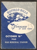 1960 AFL Game Program New York Titans at Buffalo Bills October 16, 1960