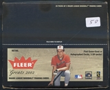 2002 Fleer Greats Of The Game Baseball Retail 20 Pack Lot
