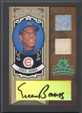 2005 Diamond Kings #56 Ernie Banks HOF Heroes Signature Materials Framed Black Platinum Jersey Bat Auto #1/1