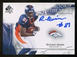 2009 Upper Deck SP Authentic #327 Richard Quinn RC Autograph /999