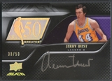2008/09 UD Black #50AUJW Jerry West 50 Greatest Auto #38/50