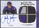 2007/08 OPC Premier #118 Jack Johnson Gold Rookie Patch Jersey Auto #20/50