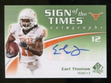 2010 Upper Deck SP Authentic Sign of the Times #ET Earl Thomas Autograph