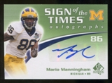 2010 Upper Deck SP Authentic Sign of the Times #MM Mario Manningham Autograph