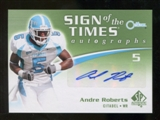 2010 Upper Deck SP Authentic Sign of the Times #AR Andre Roberts Autograph