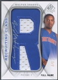 "2008/09 SP Authentic #RCNWS Walter Sharpe Letter ""R"" Patch Auto #1/7"