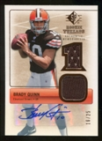 2007 Upper Deck SP Rookie Threads Rookie Threads Autographs #RTBQ2 Brady Quinn Autograph /25