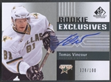 2011/12 SP Game Used #RETV Tomas Vincour Rookie Exclusives Auto #028/100