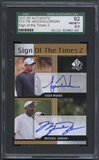 2012 SP Authentic #ST2TM Tiger Woods & Michael Jordan Sign of the Times Duals Auto SGC 92