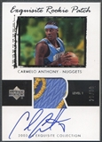 2003/04 Exquisite Collection #76 Carmelo Anthony Rookie Patch Auto #26/99
