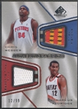 2007/08 SP Game Used #WA Chris Webber & LaMarcus Aldridge Authentic Fabrics Dual Jersey #12/99