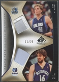 2006/07 SP Game Used #NG Dirk Nowitzki & Pau Gasol Authentic Fabrics Dual Patch #11/25