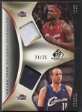 2006/07 SP Game Used #IJ Zydrunas Ilgauskas & LeBron James Authentic Fabrics Dual Patch #24/25