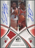 2005/06 SP Game Used #CD Eddy Curry & Luol Deng Authentic Fabrics Dual Jersey Auto #02/50