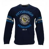 Pittsburgh Penguins CCM Reebok Navy Name & Logo Applique L/S Tee Shirt (Adult S)