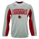 Louisville Cardinals Adidas Grey Climalite Sideline Fleece Crew Sweatshirt (Adult S)