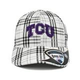 TCU Horned Frogs Top Of The World Flux Plaid Grey & White One Fit Flex Hat (Adult One Size)