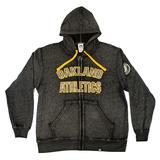 Oakland Athletics Majestic Charcoal Gray Reckoning Force Full Zip Fleece Hoodie (Adult L)