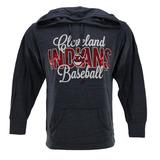 Cleveland Indians Majestic Heather Navy All Star Act Pullover Hoodie (Womens M)