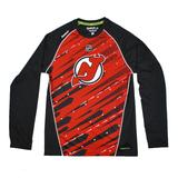 New Jersey Devils Reebok Red Center Ice Performance Long Sleeve Tee Shirt (Adult L)