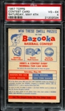1957 Topps Baseball Contest Card (Saturday, May 4th) PSA 4 (VG-EX) *2024