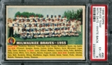 1956 Topps Baseball #95 Milwaukee Braves Team (With Date) PSA 6 (EX-MT) *8507