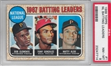 1968 Topps Baseball #1 Roberto Clemente NL Batting Leaders PSA 8 (NM-MT) *7714