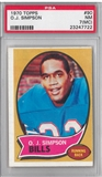 1970 Topps Football #90 O.J. Simpson Rookie PSA 7(MC) (NM) *7722