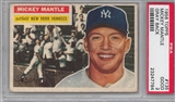 1956 Topps Baseball #135 Mickey Mantle Gray Back PSA 2 (GOOD) *7784