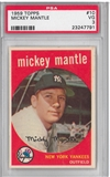 1959 Topps Baseball #10 Mickey Mantle PSA 3 (VG) *7791