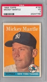 1958 Topps Baseball #150 Mickey Mantle PSA 3 (VG) *7795