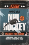 1992/93 Score Bilingual Hockey Jumbo Box