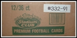 1991 Topps Stadium Club Football Wax 12-Box Case