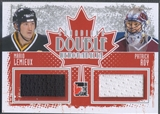 2011/12 In The Game Canadiana #DM13 Mario Lemieux & Patrick Roy Double Memorabilia Silver Jersey